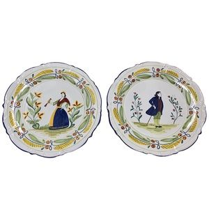 Ethan Allen Quimper Italy hand painted plates